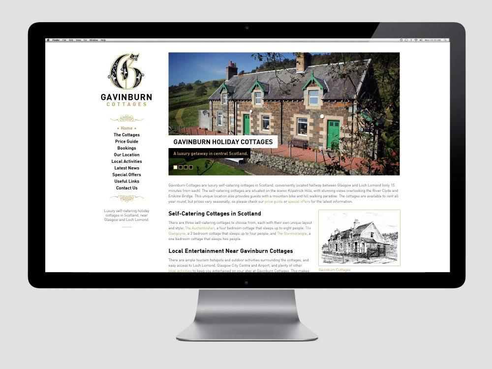 New Cottages Website Design - Gavinburn Cottages
